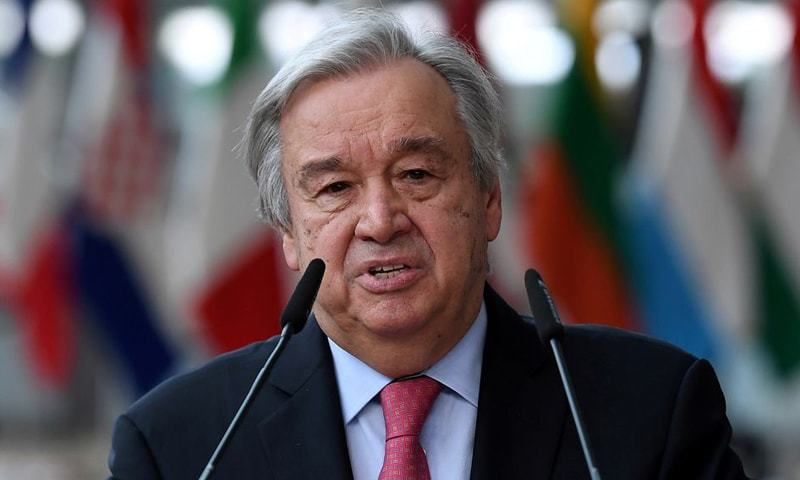 In this file photo, UN secretary-General Antonio Guterres addresses the media as he arrives on the first day of the European Union summit at The European Council Building in Brussels, Belgium. — Reuters/File