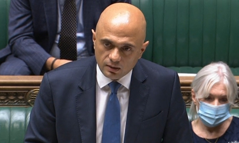 A video grab from footage broadcast by the UK Parliament's Parliamentary Recording Unit (PRU) shows Britain's Health Secretary Sajid Javid making a statement on the Government's Winter Covid Plan, in the House of Commons in London on September 14. — AFP