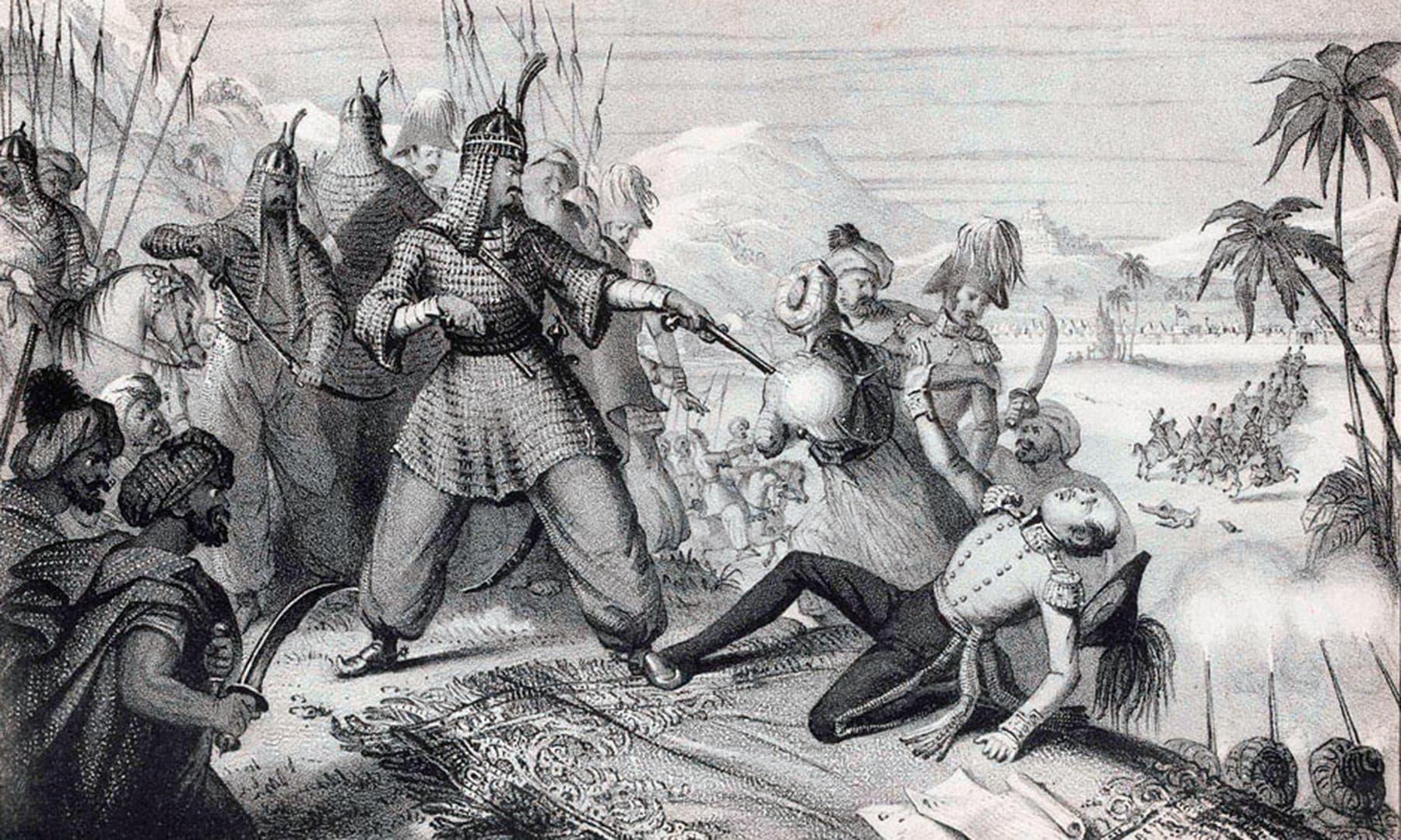 میکناٹن کے قتل کے واقعے کی منظرکشی کرتا ایک خاکہ