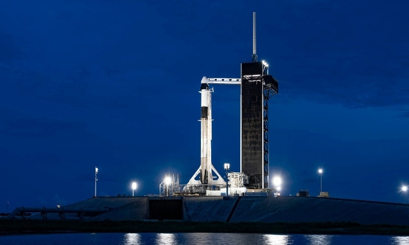 This handout image released by SpaceX and taken on September 14 shows a SpaceX Falcon 9 rocket with the company's Crew Dragon spacecraft launch pad 39A at Nasa's Kennedy Space Centre at Cape Canaveral in Florida. — AFP