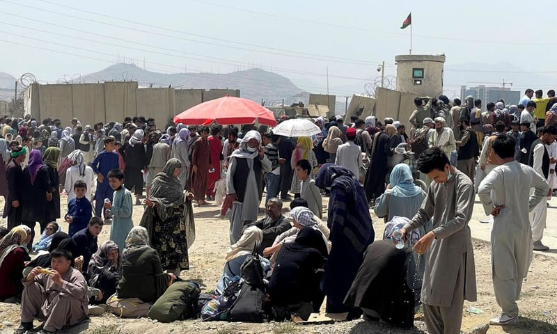 People wait outside Hamid Karzai International Airport in Kabul, Afghanistan on August 17, 2021. — Reuters/File