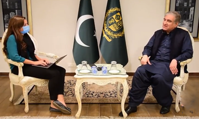 Foreign Minister Shah Mahmood Qureshi in an interview with Bel Trew of The Independent. — Screengrab