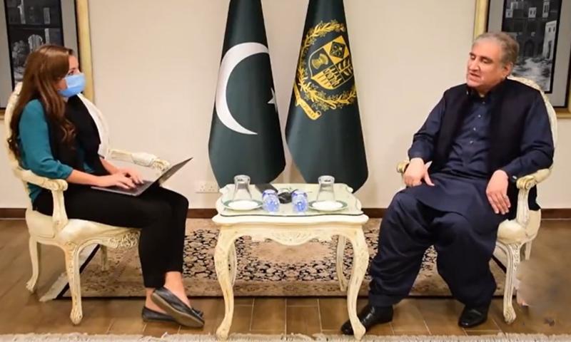 وزیرخارجہ شاہ محمود قریشی نے غیرملکی اخبار انڈیپنڈنٹ کو انٹرویو دیا--فوٹو: اسکرین گریب