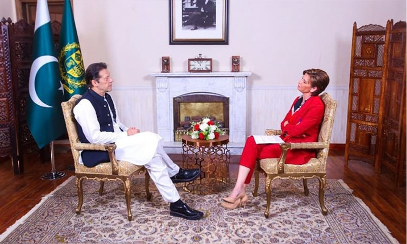 Prime Minister Imran Khan in conversation with Becky Anderson on CNN. — PTI Twitter