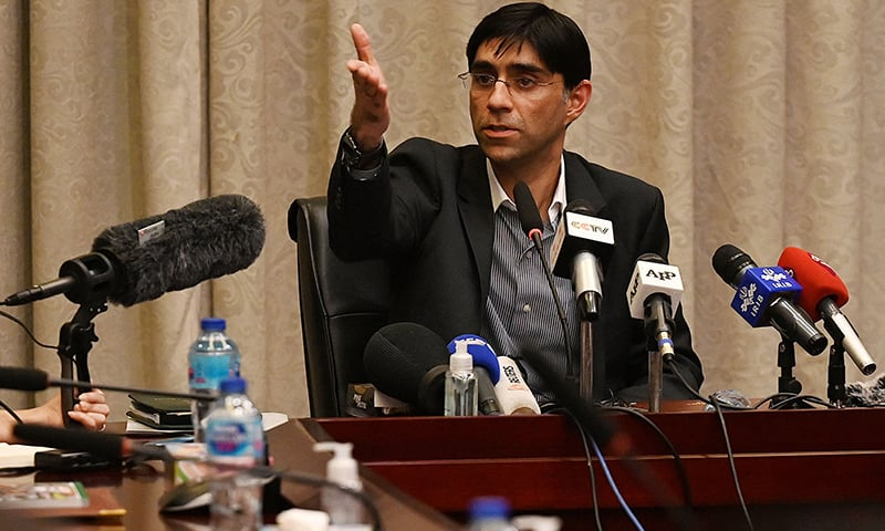 NSA Moeed Yusuf gestures as he speaks to members of the media in Islamabad on September 15 about the ongoing situation in Afghanistan. — AFP