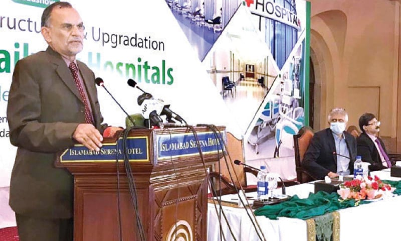 Railways Minister Azam Khan Swati speaks at the roadshow in Islamabad on Wednesday. — APP