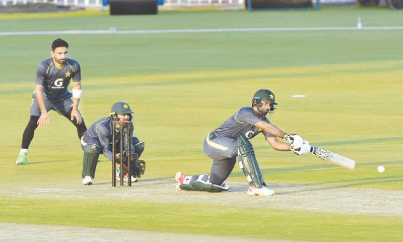 RAWALPINDI: Pakistan players take part in an intra-squad practice match at the Pindi Cricket Stadium on Wednesday. — Tanveer Shahzad/White Star