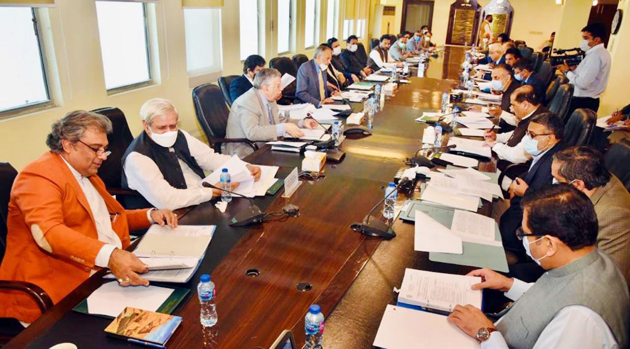 Finance Minister Shaukat Tarin chairs a meeting of the Economic Coordination Committee on Wednesday. — Photo courtesy: PID