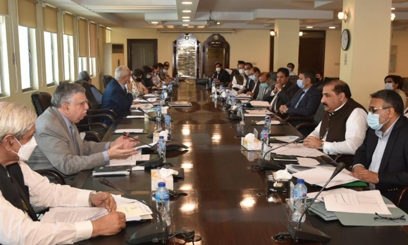 Finance Minister Shaukat Tarin chairs a meeting of the National Price Monitoring Committee on Wednesday. — Photo courtesy: PID