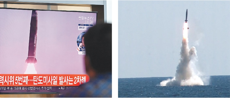 (Clockwise) A man in Seoul watches a television news broadcast showing file footage of the North Korean missile test. A handout footage shows the test-firing of South Korea's submarine-launched ballistic missile.—AFP