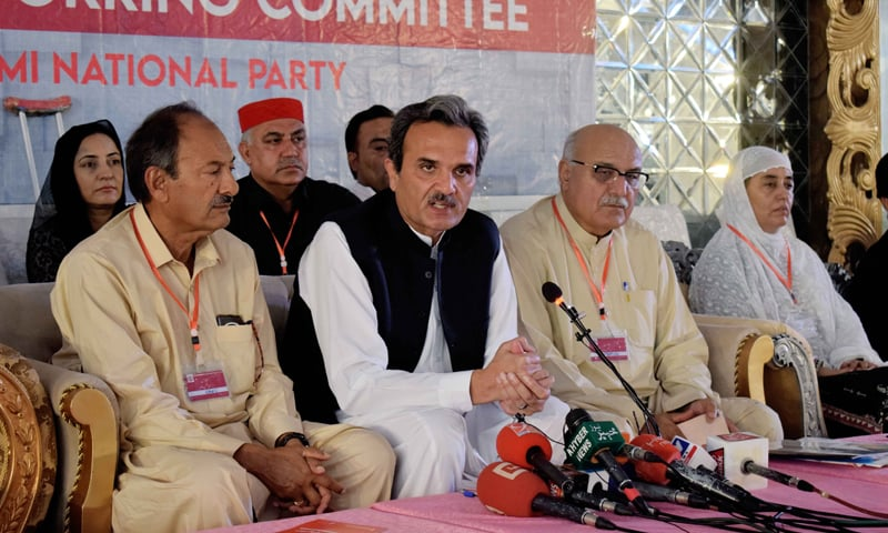Awami National Party Senior Vice President and MNA from Mardan Amir Haider Hoti (second from left) addresses a press conference in Islamabad on Wednesday. — Photo courtesy ANP Twitter