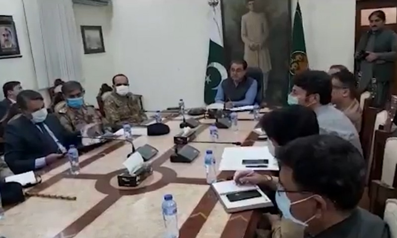 This screengrab shows Balochistan Chief Secretary Mathar Niaz Rana presiding over a meeting called to review  the law and order situation. — Photo courtesy Balochistan government Twitter