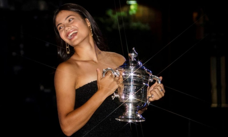 Britain's Emma Raducanu poses with the US Open tennis championship trophy after her match against Leylah Fernandez of Canada in the women's singles final the 2021 US Open tennis tournament at USTA Billie Jean King National Tennis Centre in New York, US, September 11. — Reuters
