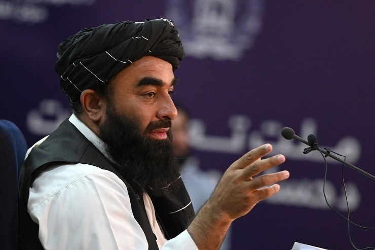 Taliban spokesperson Zabihullah Mujahid speaks during a press conference in Kabul on September 6. — AFP/File