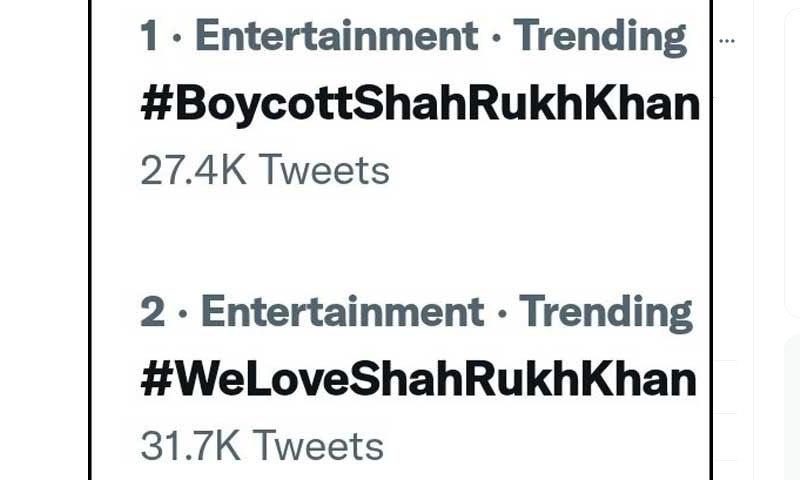 بھارت میں پہلے شاہ رخ خان کے بائیکاٹ اور پھر ان سے محبت کے ٹرینڈز ٹاپ پر آگئے—اسکرین شاٹ
