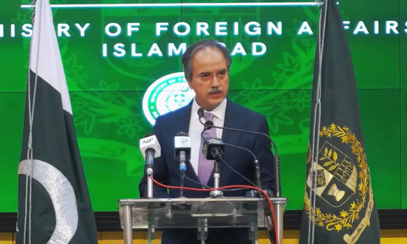 Foreign Office spokesperson Asim Iftikhar Ahmad addresses a press conference in Islamabad on Thursday. — Photo courtesy Radio Pakistan