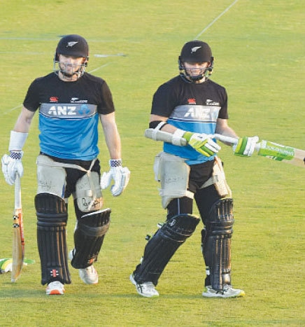 NEW ZEALAND batsmen smile during a practice session on the eve of the first One-day International against Pakistan. —White Star