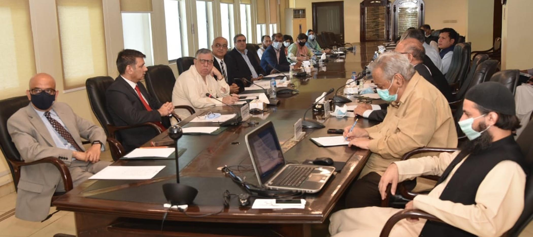 Finance Minister Shaukat Tarin chairs a meeting of the National Tax Council at the Finance Division on Thursday. — Photo courtesy: PID