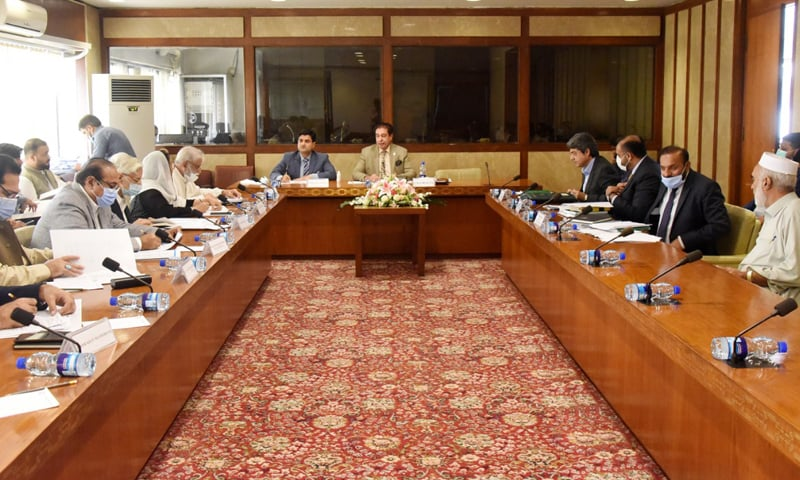 National Assembly's Standing Committee on Law and Justice Chairperson Riaz Fatyana presides over a meeting on Thursday. — Photo courtesy NA Twitter
