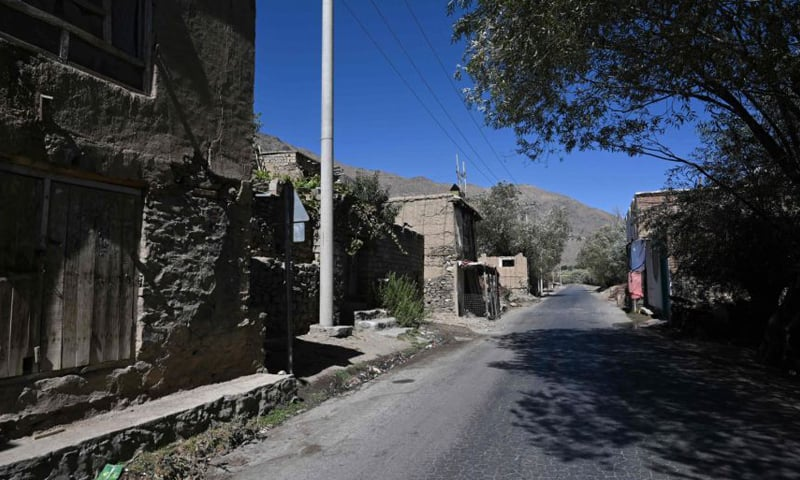 This photo shows an empty road in Malaspa village, Bazark district in Panjshir province, on Sept 15, 2021. — AFP