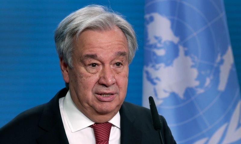 In this Dec 2020 file photo, UN Secretary General Antonio Guterres addresses the media during a joint press conference in Berlin. — AP