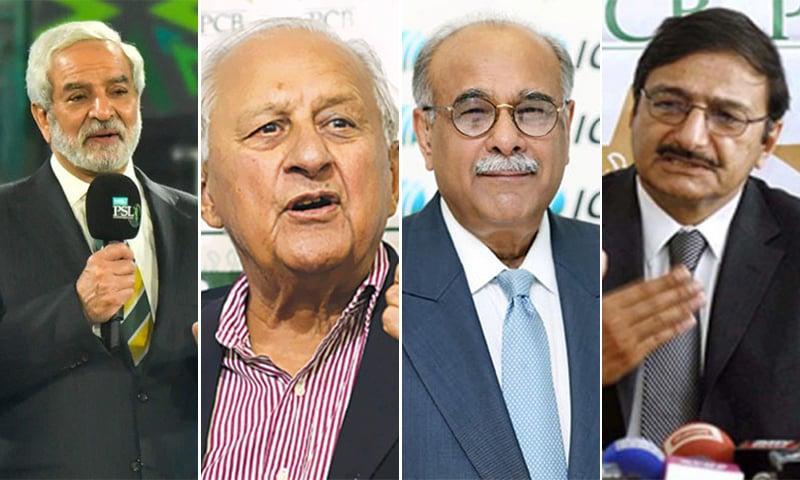 ماضی قریب میں پی سی بی کے سربراہ رہنے والے افراد (دائیں سے بائیں) ذکا اشرف، نجم سیٹھی، شہریار خان، احسان مانی