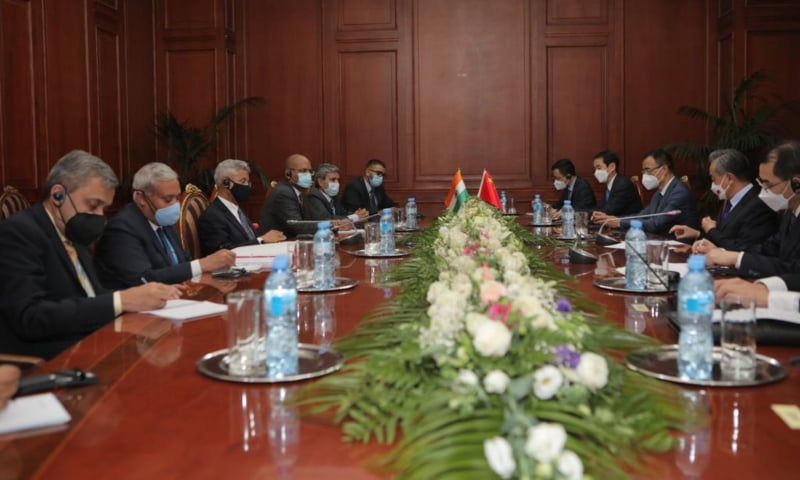 The Indian delegation meets the Chinese delegation on the sidelines of Shanghai Cooperation Organisation Summit in Dushanbe, Tajikistan on September 16. — Photo courtesy Subrahmanyam Jaishankar Twitter