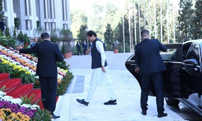 Prime Minister Imran Khan arrives at the Nauroz Palace. — Photo courtesy: PMO