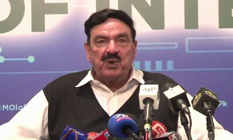 Interior Minister Sheikh Rashid Ahmed addresses a press conference in Islamabad on Friday. — DawnNewsTV