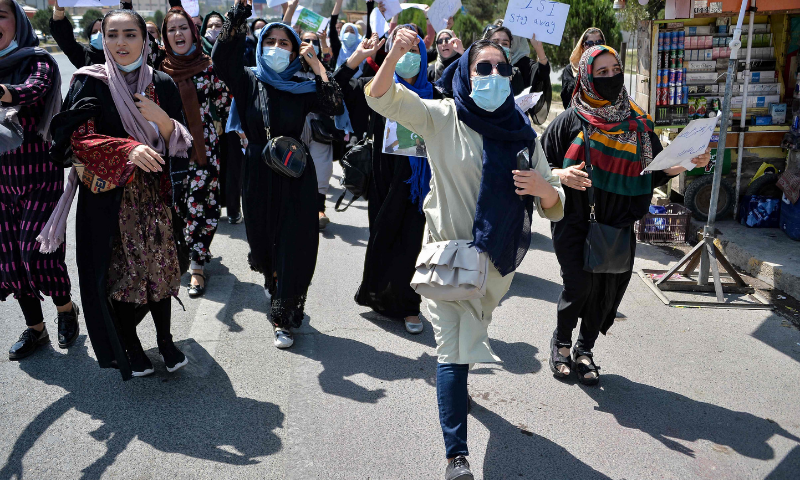 Afghan women shout slogans during a protest rally in Kabul earlier this month. — AFP/File