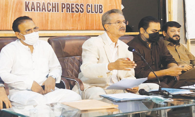 Waseem Akhtar speaks at the KPC on Friday.—PPI