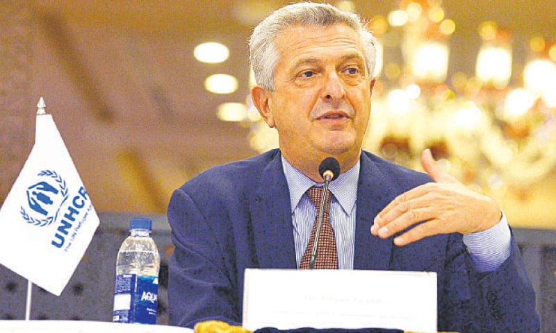 ISLAMABAD: UN High Commissioner for Refugees Filippo Grandi speaks at a press conference here on Friday.—INP