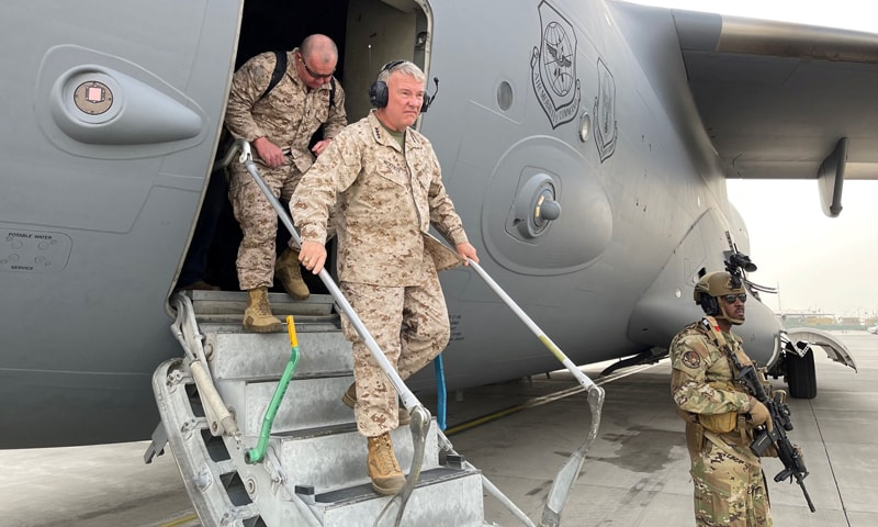 US Marine Corps General Frank McKenzie, the commander of US Central Command, arrives at Hamid Karzai International Airport in Kabul, Afghanistan, in this photo taken on August 17, 2021. — Reuters/File