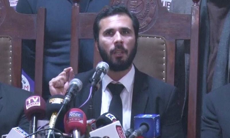Lawyer Hassaan Niazi addresses a press conference in Lahore in this file photo. — DawnNewsTV/File