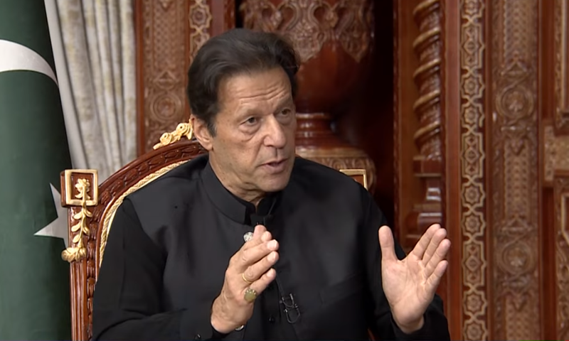Prime Minister Imran Khan during an interview with the RT on Friday. — RT screengrab