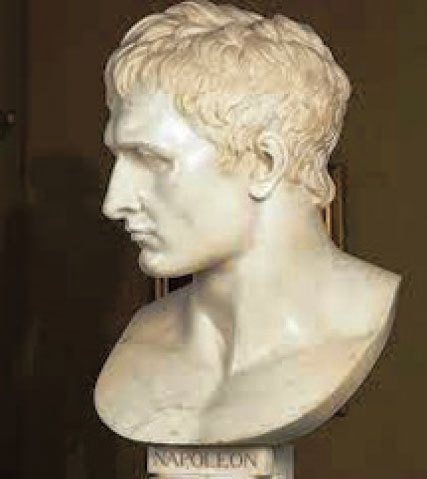 A marble sculpture of Napoleon