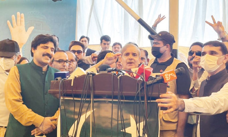 NAROWAL: PML-N president Shehbaz Sharif addresses a workers convention on Saturday. — Dawn