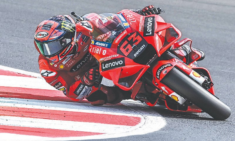 DUCATI'S Francesco Bagnaia rides his bike during the fourth free practice session for the San Marino MotoGP at the Misano World Circuit Marco-Simoncelli on Saturday. — AFP