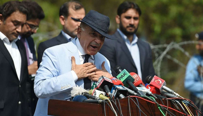 Leader of Opposition in National Assembly Shehbaz Sharif talks to the media in this file photo. — AFP