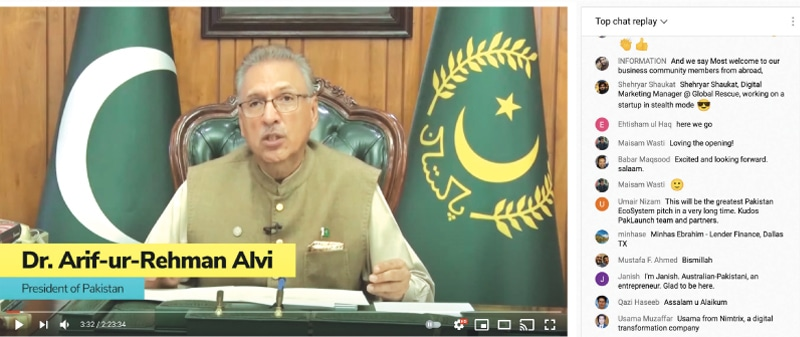 President Arif Alvi speaks to a virtual audience during the conference 'Pakistani Start-ups: The Next Big Thing,' as comments by attendees continue to pop up | Screengrab