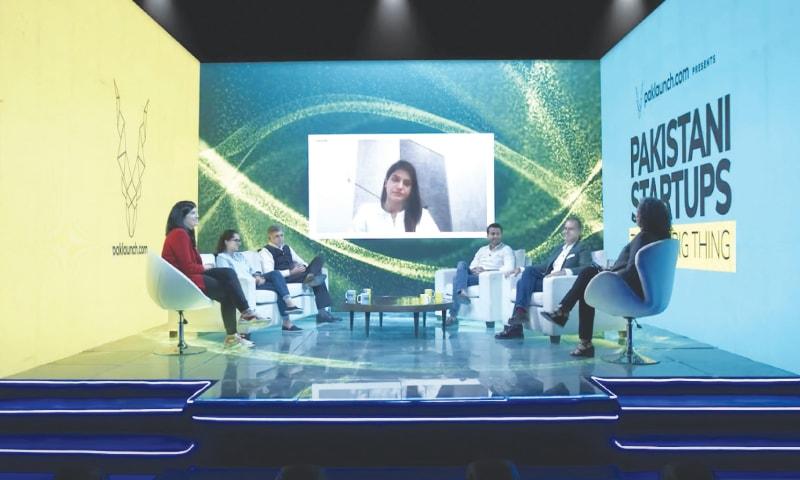 A panel discussion at the virtual conference 'Pakistani Start-ups: The Next Big Thing' with Qasif Shahid of Finja, Dr Sara Saeed of Sehat Kahani, Hamza Jawaid of Bazaar Technologies, Mahlaqa Shaukat of AimFit, Meher Farrukh of Airlift and Ahmed Khan of Cheetay | Screengrab