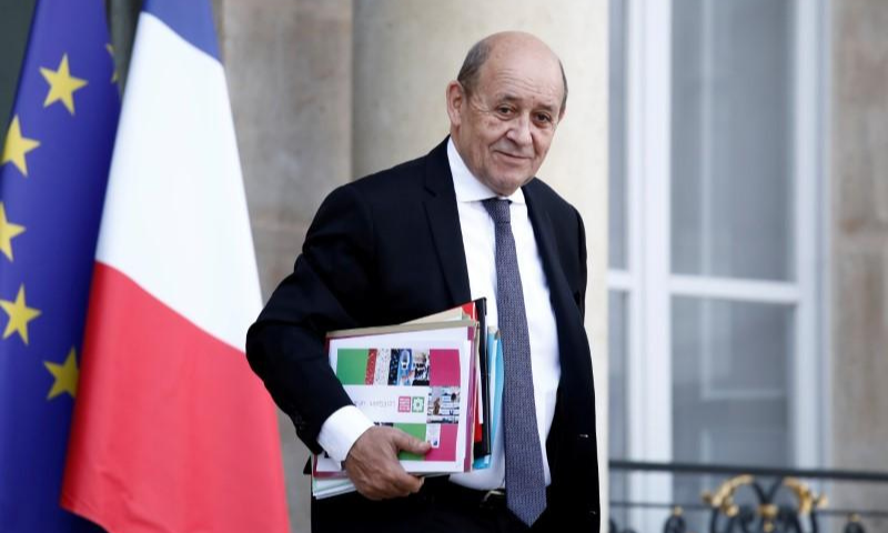 French Foreign Minister Jean-Yves Le Drian leaves the Elysee Palace following the weekly cabinet meeting in Paris, France. — Reuters/File