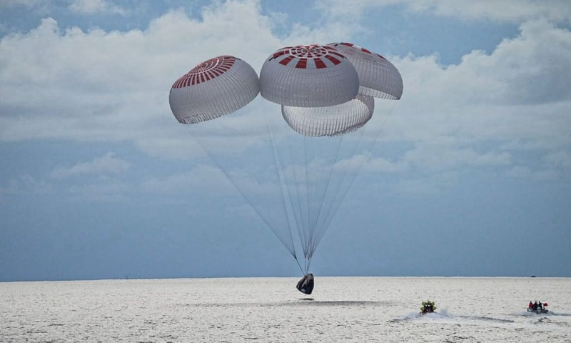 The quartet of newly minted citizen astronauts comprising the SpaceX Inspiration4 mission safely splashes down in SpaceX's Crew Dragon capsule off the coast of Kennedy Space Centre, Florida, US on September 18. — Reuters