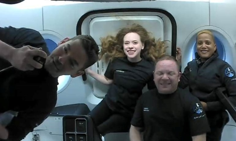 Inspiration4 crew Jared Isaacman, Sian Proctor, Hayley Arceneaux, and Chris Sembroski, seen on their first day in space in this handout photo released on September 17. — Reuters