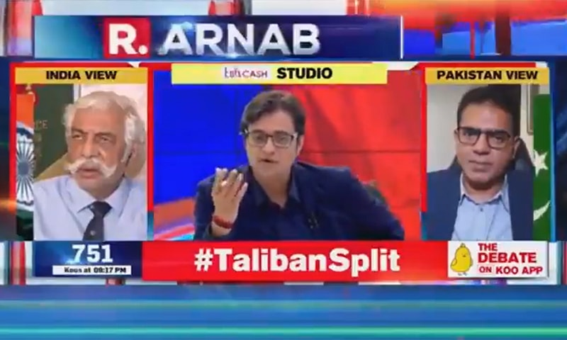 A screengrab from Indian anchor Arnab Goswami's programme 'The Debate'.