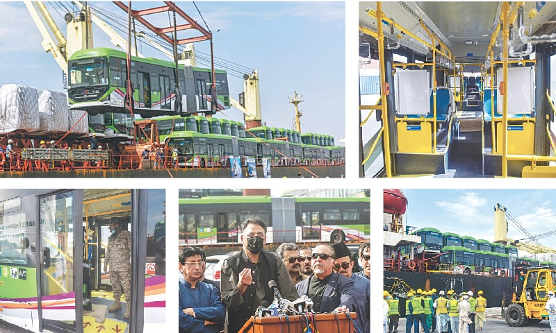(Clockwise) A crane unloads the first bus at the Karachi port on Sunday. A view of the interior of a bus. Officials of different organisations at the quay during the unloading process. Asad Umar, the federal minister for planning, congratulates Karachiites on the buses arrival. A security man pictured in one of the buses.—Fahim Siddiqi / White Star