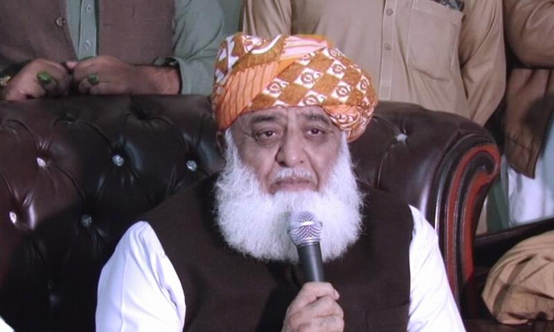 In this file photo, Maulana Fazlur Rehman addresses a press conference in Peshawar. — DawnNewsTV/File