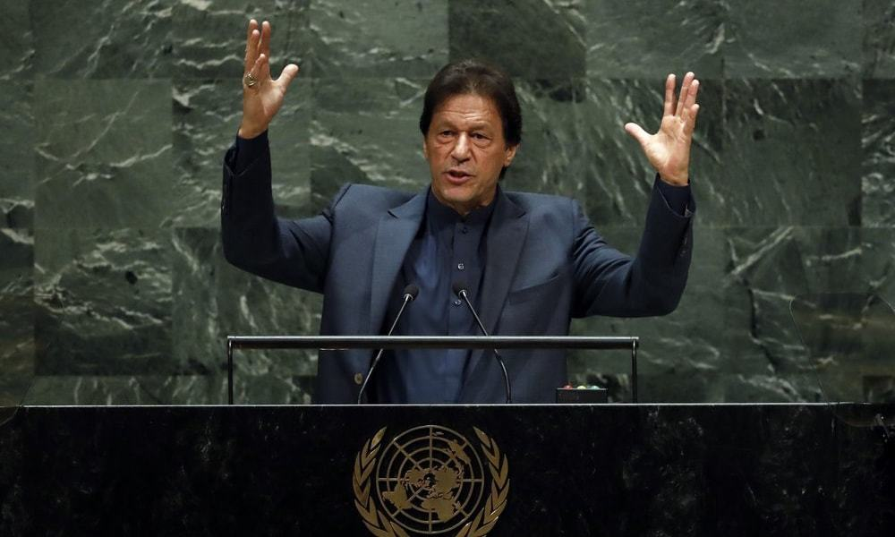 In this file photo, Prime Minister Imran Khan speaks during the 74th Session of the General Assembly at UN Headquarters in New York. — AFP/File