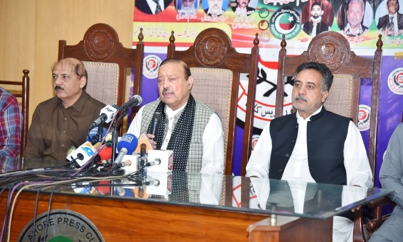 Azad Jammu and Kashmir President Barrister Sultan Mahmood speaks at the Lahore Press Club on Sunday. — Photo courtesy: Facebook