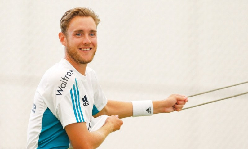Stuart Broad engaged in a stretching exercise during an indoor training session. — Reuters/File